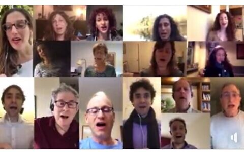 """The Romemu Choir sings Basya Schechter's """"Hashkiveinu"""" in an arrangement by Joshua Ehrlich. The video is available on the Manhattan congregation's Facebook page."""