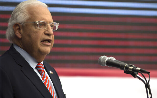 U.S. ambassador to Israel David Friedman speaking on stage during the opening of the U.S. embassy in Jerusalem on May 14, 2018. (Lior Mizrahi/Getty Images)
