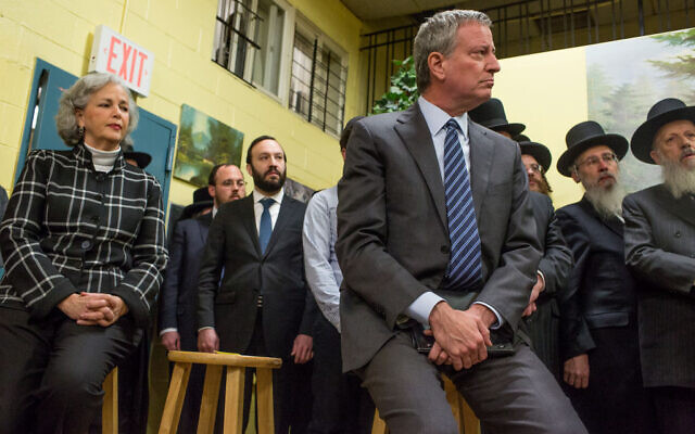 New York City Mayor Bill de Blasio attends a press conference after meeting with Satmar Jewish community leaders to denounce a hate crime attack in Jersey City, December 12, 2019. (Photo by Andrew Lichtenstein/Corbis via Getty Images via JTA)