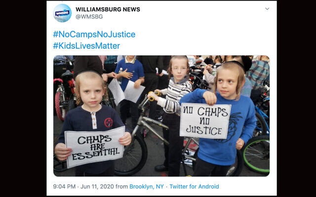 Orthodox children in New York City are rallying to have their camps open amid the coronavirus pandemic. (Screenshot from Twitter)