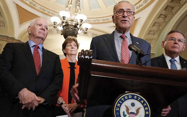 Senate Minority Leader Chuck Schumer, at mic, speaks at a news briefing at the Capitol, July 17, 2018. Left to right in the background are Sens. Ben Cardin, Jeanne Shaheen and Robert Menendez. Alex Wong/Getty Images via JTA