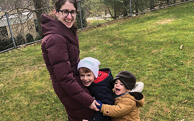 The author with her two children in the Long Island suburbs. Courtesy of Yael Buechler