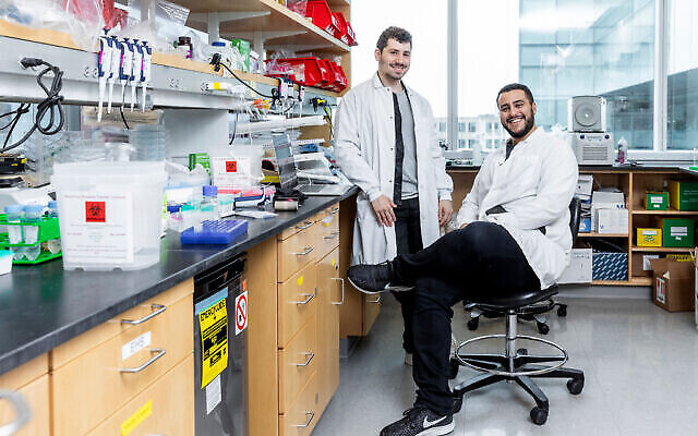 Jonathan Gootenberg, left, and Omar Abudayyeh, sitting, are researching coronavirus testing methods at the McGovern Institute for Brain Research at the Massachusetts Institute of Technology. (McGovern Institute for Brain Research at MIT/ Photo by Caitlin Cunningham Photography)