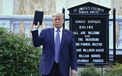 President Trump waved a Bible at a photo-op Monday, but never opened it. Getty Images