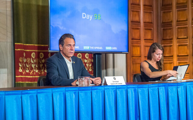 As New York State recorded the lowest number of hospitalizations and deaths since the beginning of the pandemic, Gov. Andrew Cuomo announced an accelerated reopening of houses of worship during a news conference in Albany, June 6, 2020. (Darren McGee-Office of Governor Andrew M. Cuomo)
