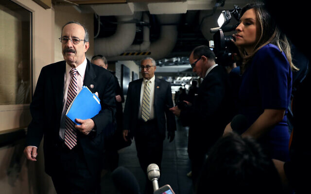 Rep. Eliot Engel arrives for a House Democratic Caucus meeting in the basement of the U.S. Capitol, Jan. 14, 2020. (Chip Somodevilla/Getty Images via JTA)