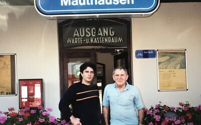 Laila's father and grandfather during a visit to Mauthausen Concentration Camp. Photo courtesy of Laila Friedman