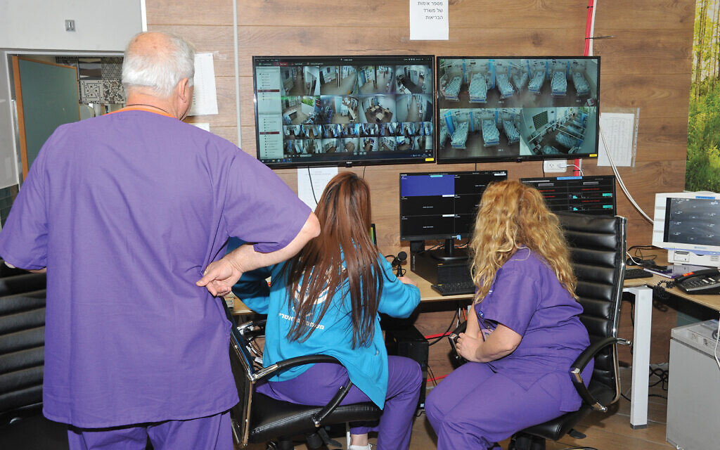 Staff members at the Galilee Medical Center, a teaching hospital in Nahariya serving the western Galillee, monitor patient data at one of the center's command-and-control posts. Roni Albert for the Galilee Medical Center, Nahariya