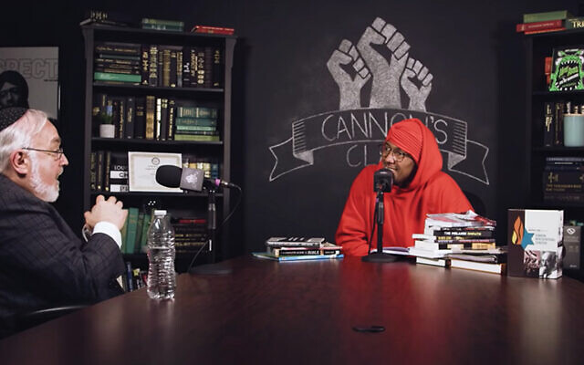 "Rabbi Abraham Cooper, left, talks with Nick Cannon on an episode of his online ""Cannon's Class"" show. Screenshot from YouTube"