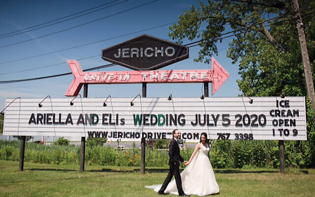 Love at the drive-in: Ariella Segal and Eli Shapiro on their wedding day. Tricia McCormack Photography