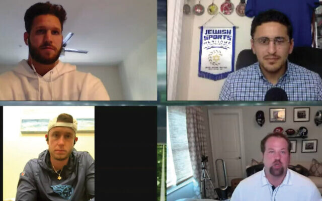 Jewish football players participated in an online conversation Sunday night. Clockwise from upper left: Anthony Firkser, conversation organizer Michael Neuman, Geoff Schwartz and Greg Joseph. Screenshot from virtual event
