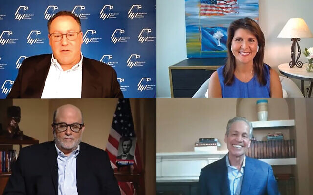 Clockwise from top left, Matt Brooks, Nikki Haley, Norm Coleman and Mark Levin join in a Republican Jewish Coalition online town hall last Sunday. Screenshot