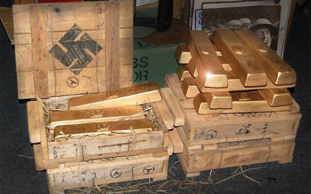 Looted Nazi gold bars like these ended up at the Federal Reserve Building in Manhattan, below. YouTube