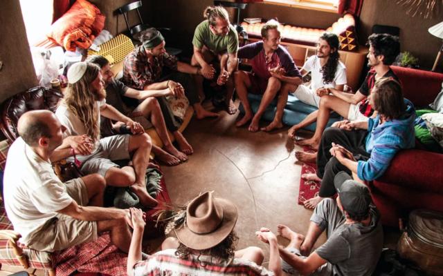 Ophir and Dor Haberer lead a men's retreat in Colorado in 2018. (Brian Hedden/via JTA)