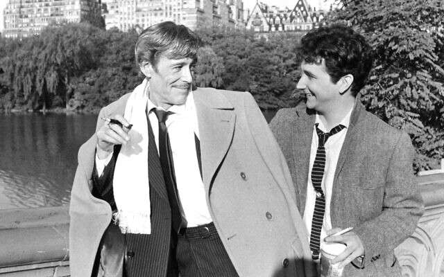 "Actors Peter O'Toole as Alan Swann and Mark Linn-Baker as Benjy Stone on set of the MGM/UA Entertainment movie ""My Favorite Year"" in 1982. (Photo by Michael Ochs Archives/Getty Images)"