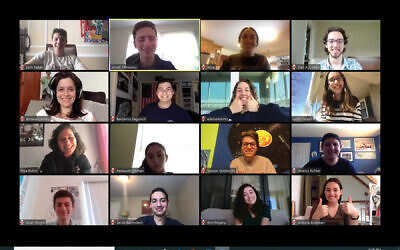 Students from List College at the Jewish Theological Seminary take part in an online event. Courtesy of JTS