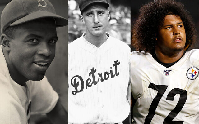 From left: Jackie Robinson (Hulton Archive/Getty Images); Hank Greenberg (Getty Images); Zach Banner (Katharine Lotze/Getty Images).