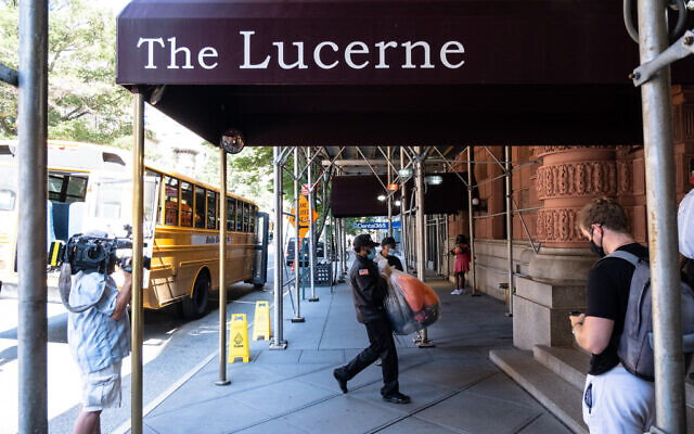 The Lucerne Hotel on W. 79th St. in  Manhattan was converted into a homeless shelter during the Covid-19 crisis. (Upper West Siders for Safer Streets)