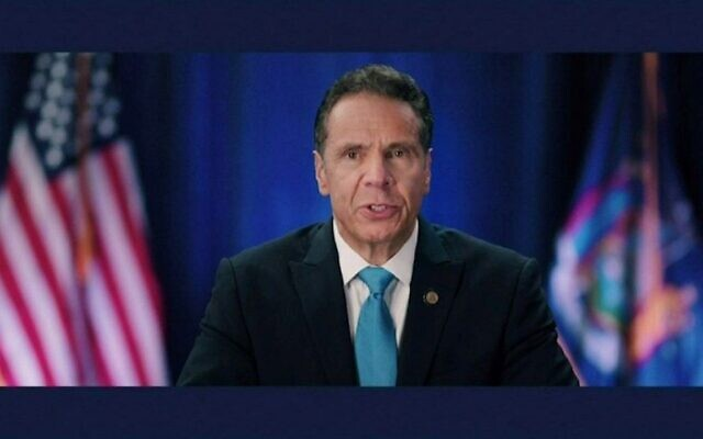 Gov. Andrew Cuomo of New York delivered remarks during the virtual Democratic National Convention, saying the coronavirus was a metaphor for the sickness in American political culture, Aug. 17, 2020. (Screen shot)