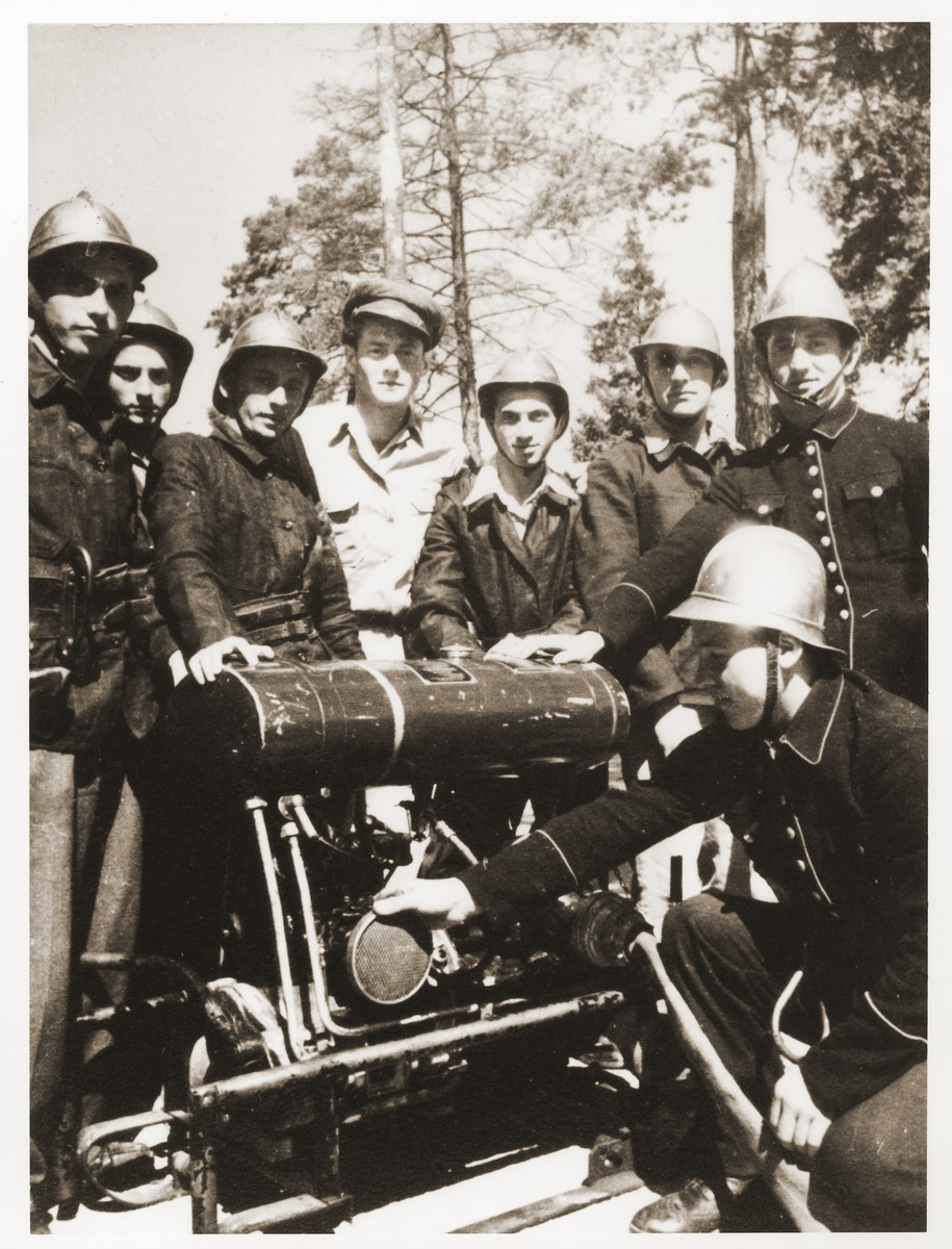 The fire department at the Foehrenwald Displaced Persons Camp. (HMTC)