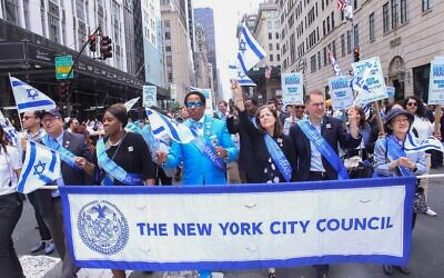 Members of the NY City Council march in the Celebrate Israel parade on Fifth Avenue, June 2, 2019. (City Council Flickr Page)