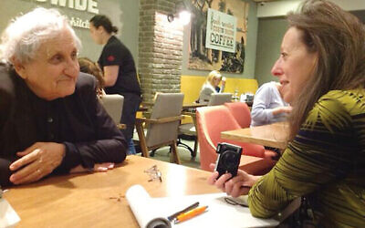 The author with the acclaimed Israeli novelist and playwright A.B. Yehoshua at a coffee shop near his home in Givatayim, Israel. Barry Lichtenberg