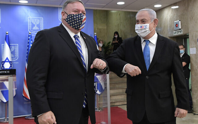 U.S. Secretary of State Mike Pompeo meets with Israeli Prime Minister Benjamin Netanyahu during a joint news conference in Jerusalem, Aug. 24, 2020. (Kobi Gideon/GPO)