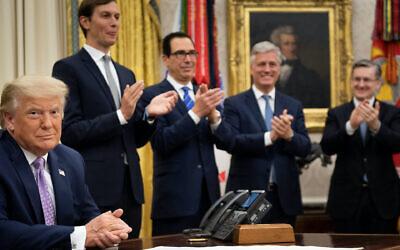 President Trump announcing the Israel-UAE agreement with, from left to right: Senior Adviser Jared Kushner, Treasury Secretary Steven Mnuchin and National Security Advisor Robert O'Brien, Aug. 13, 2020. (Brendan Smialowski/AFP via Getty Images)