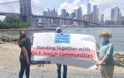 Gary Levy, center, and colleagues visited New York City on a solidarity mission with Dror Israel. (Dror Israel)