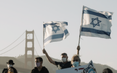 About 150 Israelis joined a protest in San Francisco in solidarity with the sweeping anti-government protests in Israel, Aug. 1, 2020. (Courtesy of Rachel Batish)
