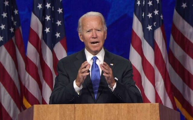 Former Vice President Joe Biden accepts the presidential nomination during the final night of the 2020 Democratic National Convention, Aug. 20, 2020, from Wilmington, Del. (Democratic National Convention)
