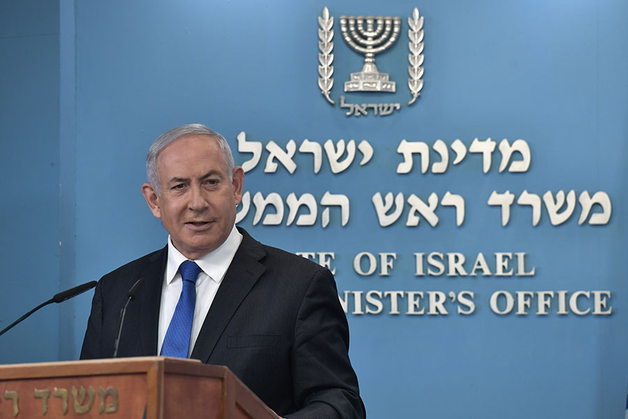 Prime Minister Benjamin Netanyahu discusses the agreement for Israel and the UAE to establish diplomatic relations, at the Prime Minister's Office in Jerusalem, on August 13, 2020. (Prime Minister's Office)