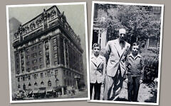 Ben Stonehill and his sons, 1948. At left is the Hotel Marseilles in Manhattan, which after World War II housed Jewish refugees from Europe.   (Courtesy of Lenox Stonehill and the US Holocaust Memorial Museum; Museum of Jewish Heritage)