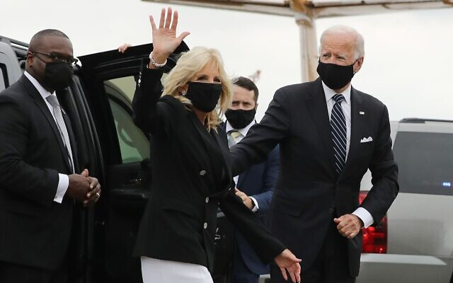 Joe and Jill Biden depart Newark Liberty Airport after attending a remembrance ceremony on the 19th anniversary of the 9/11 terror attacks at the national memorial in New York City, Sept. 11, 2020. (Chip Somodevilla/Getty Images)
