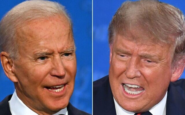 Former US Vice President Joe Biden and President Donald Trump clashed during the first presidential debate at the Case Western Reserve University and Cleveland Clinic in Cleveland, Ohio on Sept. 29, 2020. (Jim Watson, Saul Loeb AFP via Getty Images)