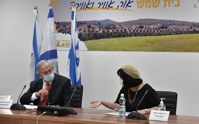 Prime Minister Benjamin Netanyahu visits the Israeli city of Beit Shemesh and its mayor, Dr. Aliza Bloch, Sept. 8, 2020. (Photo by Kobi Gideon/GPO)