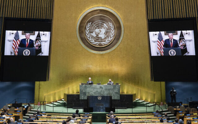 President Trump (on screens) addresses the general debate of the UN General Assembly's 75th session, Sept. 22, 2020. (UN Photo/Eskinder Debebe)