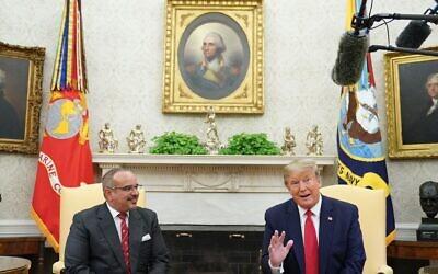 President Donald Trump speaks with Bahrain's Crown Prince Salman bin Hamad bin Isa al-Khalifa in the Oval Office, Sept. 16, 2019. (Mandel Ngan/AFP via Getty Images)
