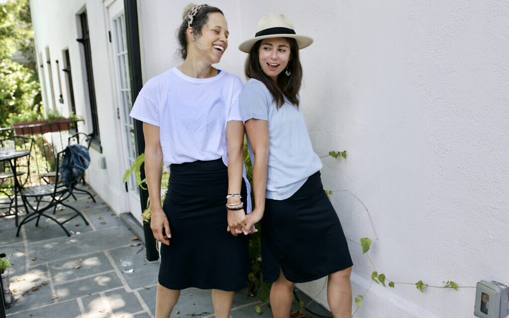 Aja Cohen (right) and Noa Smalley model samples from Transcendent Active's line of modest clothing. (Courtesy of Carol Berlin)