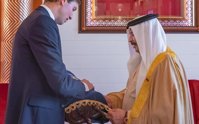 White House special representative Avi Berkowitz released a photo on Sept. 14, 2020 showing Jared Kushner presenting Bahrain's King Hamad bin Isa Al Khalifa with a Torah scroll during a visit to Bahrain earlier this month. During the visit, Kushner pushed the Gulf state to normalize ties with Israel, weeks after the neighboring United Arab Emirates said it would do so. (Twitter)