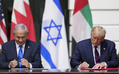 President Donald Trump and Israeli Prime Minister Benjamin Netanyahu sign the Abraham Accords at a White House ceremony, Sept. 15, 2020. (Jabin Botsford/The Washington Post via Getty Images)