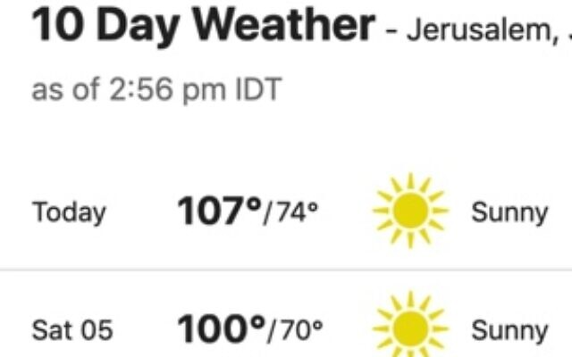 Jerusalem sweltered under record-breaking heat, Sept. 4, 2020.