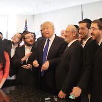 Donald Trump, campaigning for president on Aug. 14, 2016, held a 20-minute question-and-answer session with Jewish reporters at his offices at Trump Tower. (Uriel Heilman/JTA)