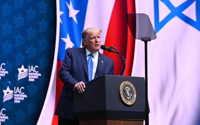 President Donald Trump, shown  speaking at the Israeli-American Council's annual conference in Hollywood, Fla., Dec. 7, 2019. (Noam Galai)