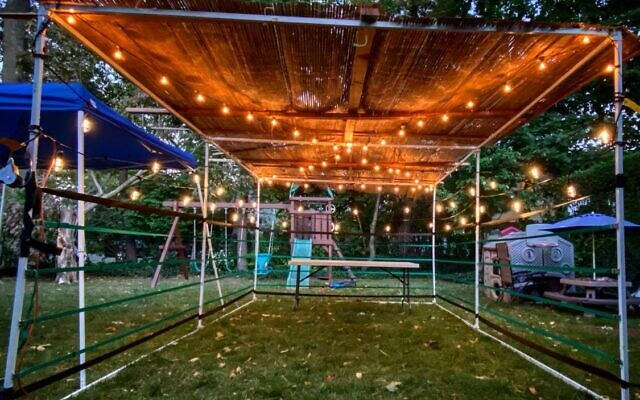 "Marc Aaron Melzer of Teaneck, NJ, designed this sukkah according to his rabbi's guidelines. The ""walls"" are defined according to Jewish law and designed to maximize airflow. (Facebook)"