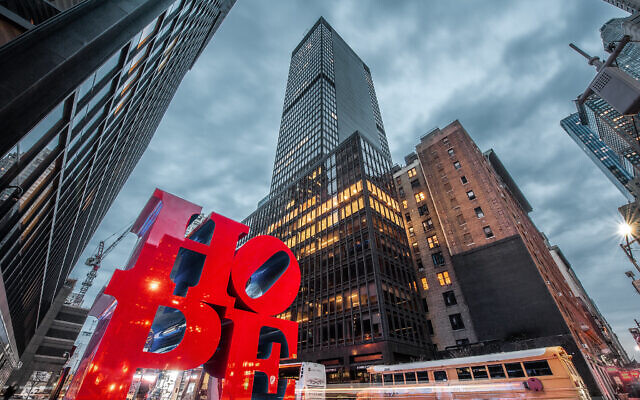 "The Robert Indiana ""Hope"" sculpture at 53rd Street in Manhattan. (Shutter Runner/Flickr Commons)"
