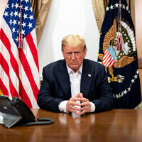 President Trump, photographed in his conference room at Walter Reed National Military Medical Center in Bethesda, Md., Oct. 4, 2020. (Official White House Photo by Tia Dufour)