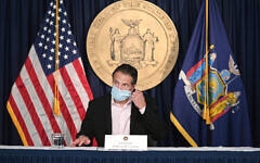 Gov. Andrew M. Cuomo delivers a Covid-19 briefing in New York City, Oct. 17, 2020. (Kevin P. Coughlin / Office of Governor Andrew M. Cuomo)