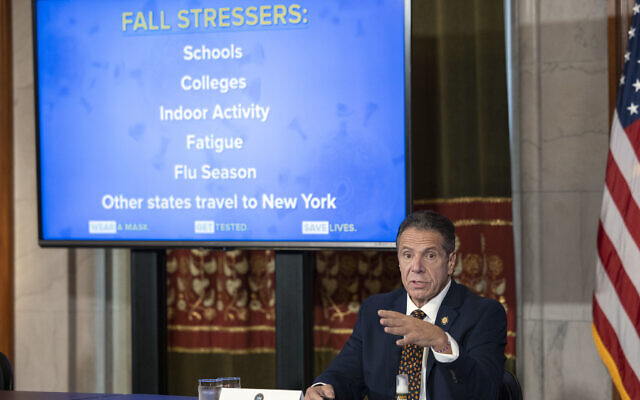Gov. Cuomo provides a coronavirus update during a press conference in the Red Room at the State Capitol, Oct. 21, 2020. (Mike Groll/Office of Governor Andrew M. Cuomo)