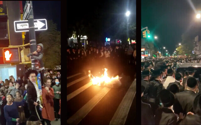 Orthodox residents of Borough Park burned masks and blocked city buses Tuesday night to protest Gov. Andrew Cuomo's announcement that he would impose new restrictions on areas with upticks in COVID. (Screenshots from WhatsApp)